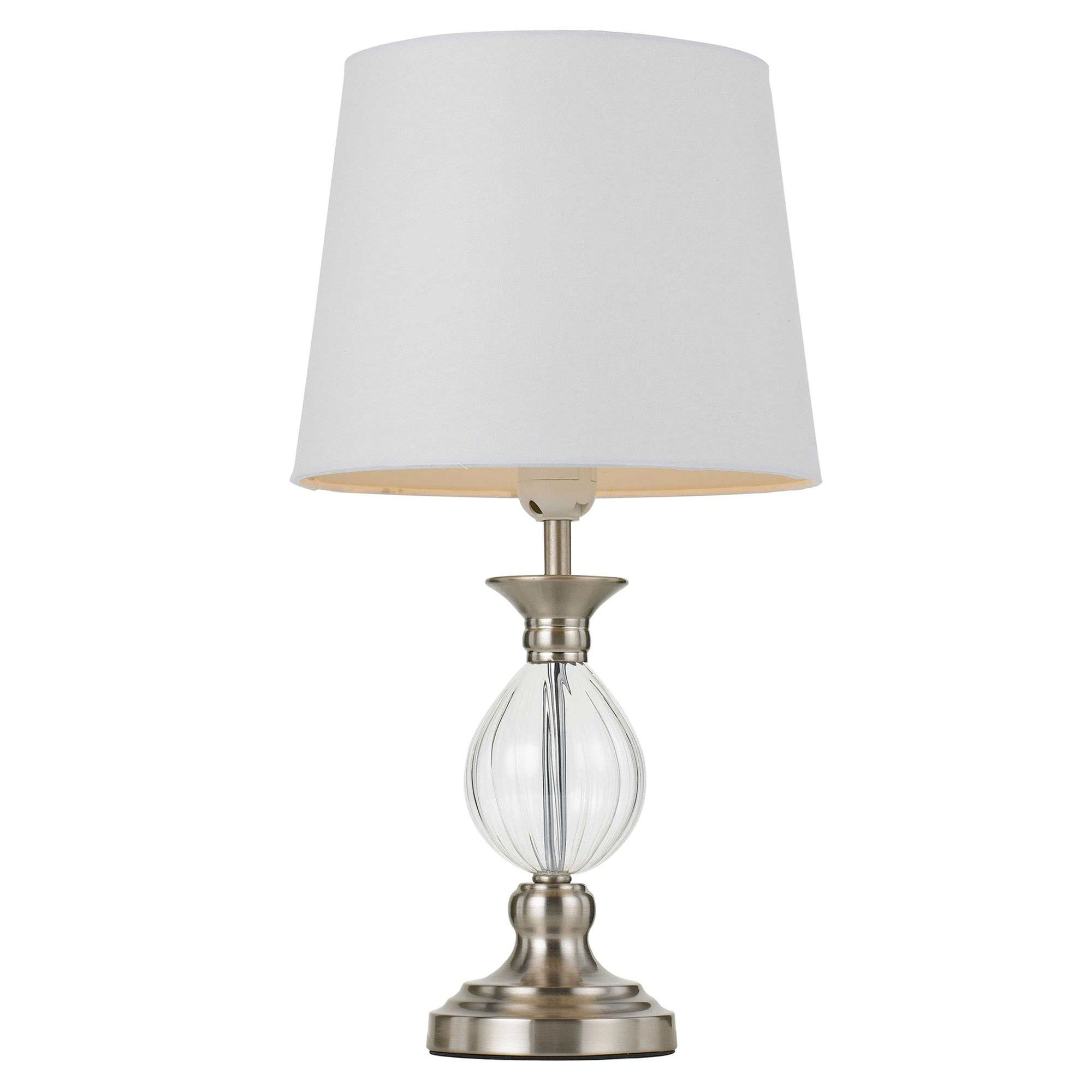 Crest Metal & Glass Base Table Lamp, Nickel