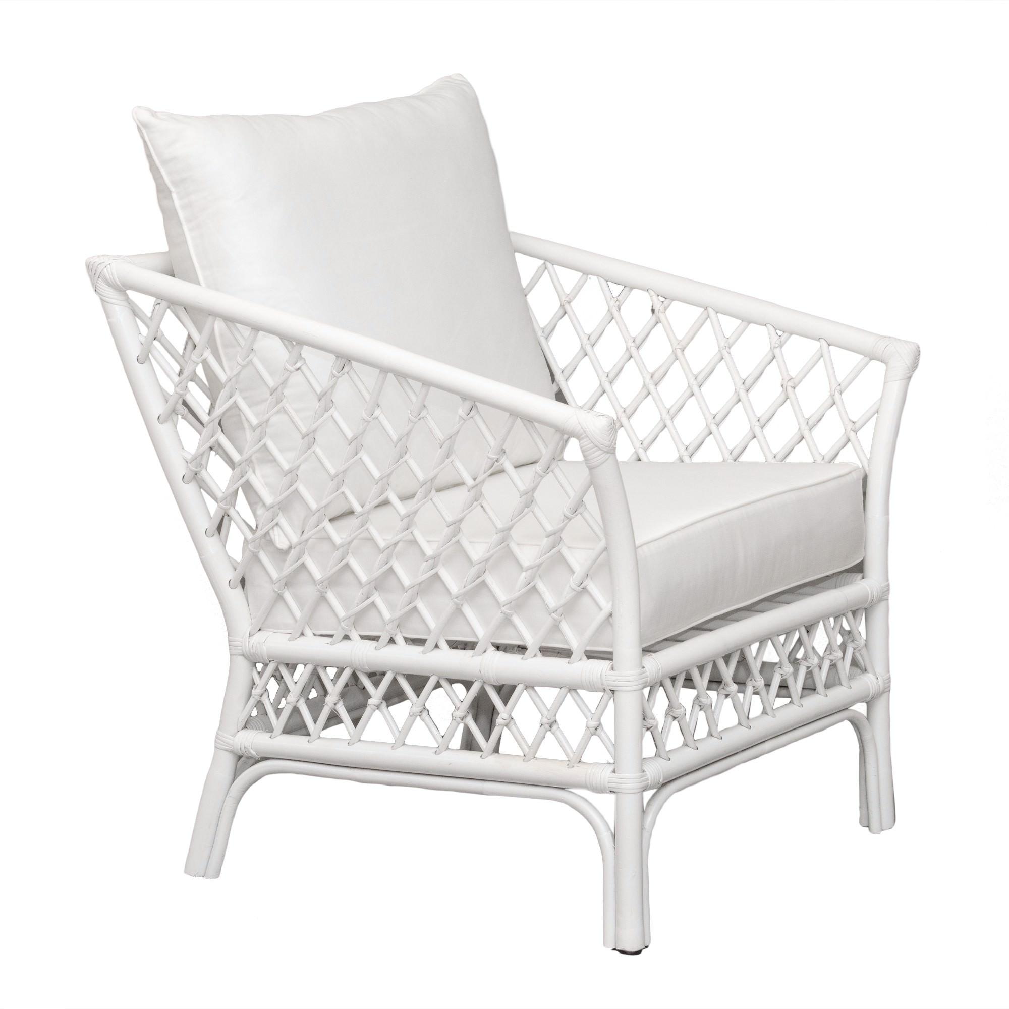 Charlotte Rattan Armchair, White Cushion