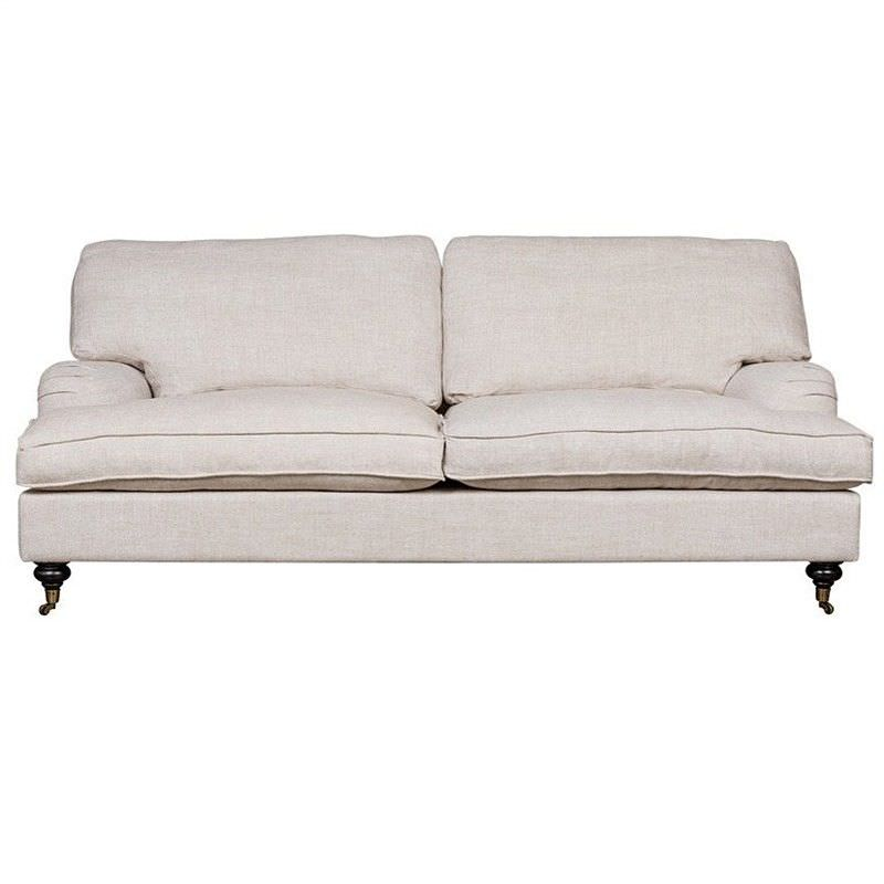 Linfield 2.5 Seater Fabric Classic Roll Arm Sofa, French Linen