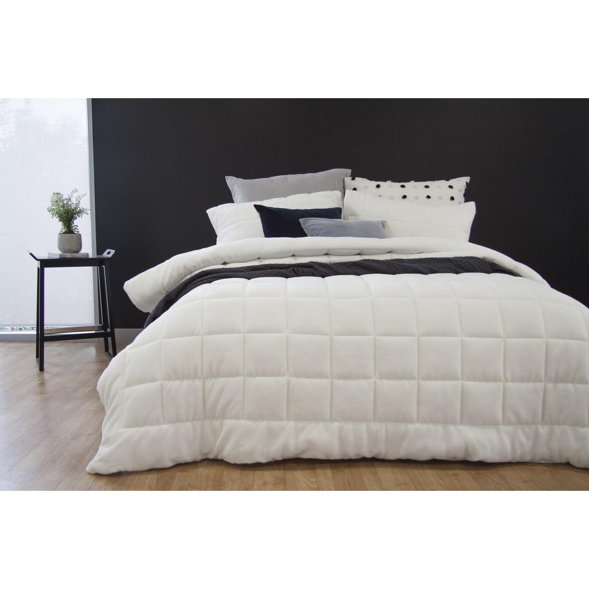 Ardor Faux Mink Comforter Set, Queen / King, White