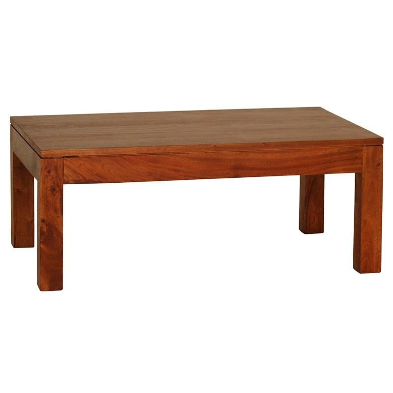 Amsterdam Solid Mahogany Timber 100cm Coffee Table - Light Pecan