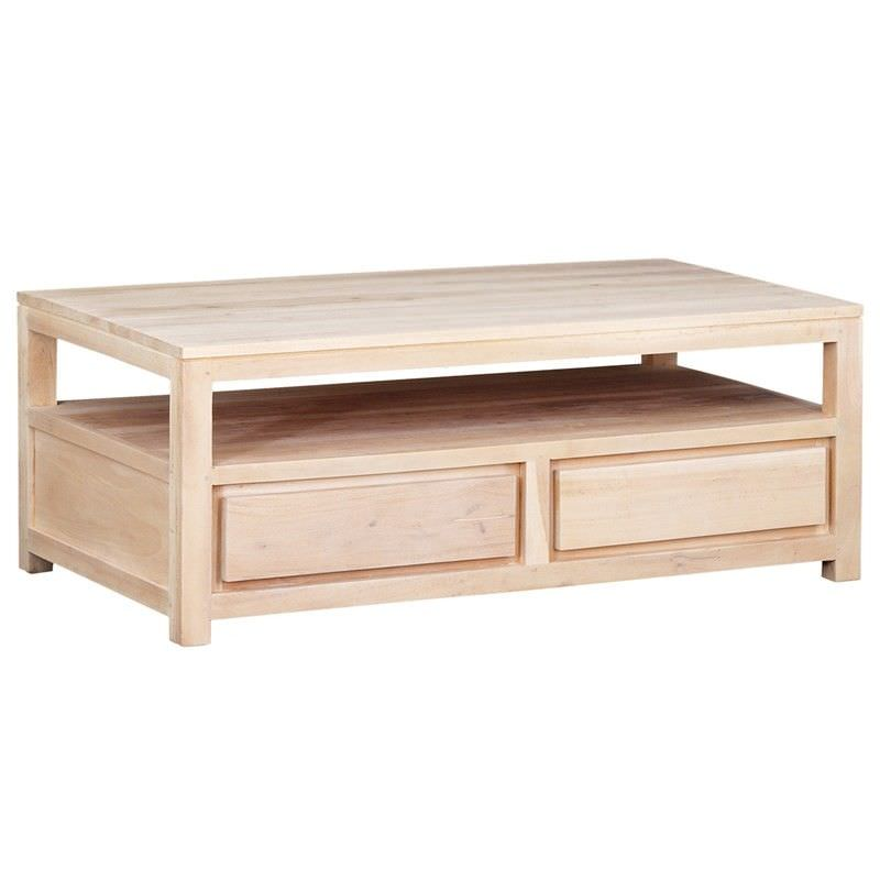 Amsterdam Solid Mahogany Timber 4 Drawer Coffee Table, White Wash