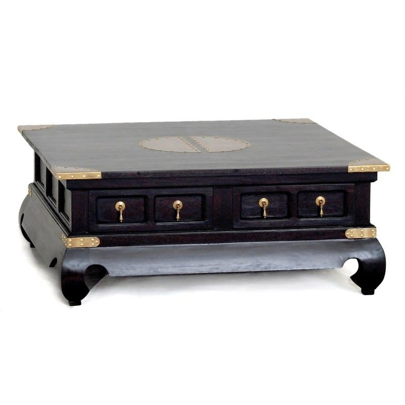 Ming Solid Mahogany Timber 4 Drawer 100cm Square Coffee Table - Chocolate