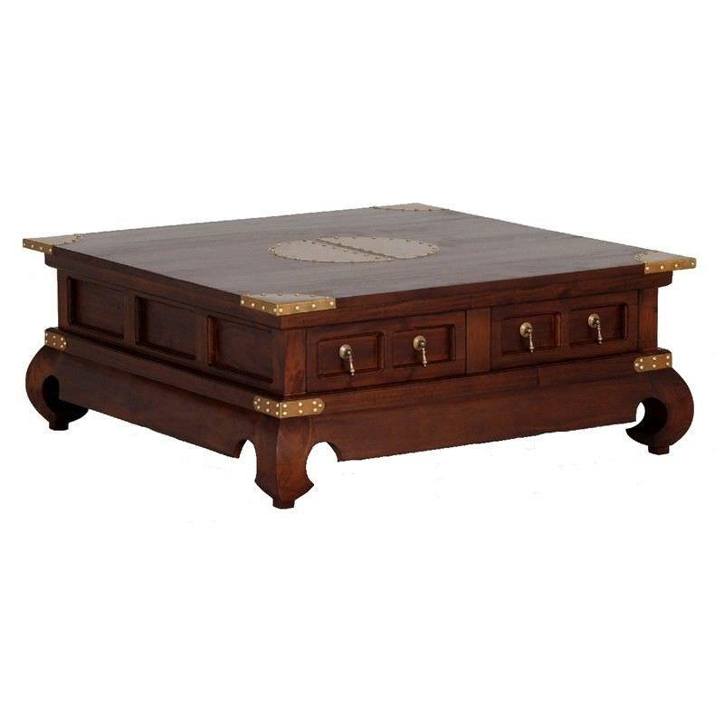 Ming Solid Mahogany Timber 4 Drawer 100cm Square Coffee Table - Mahogany
