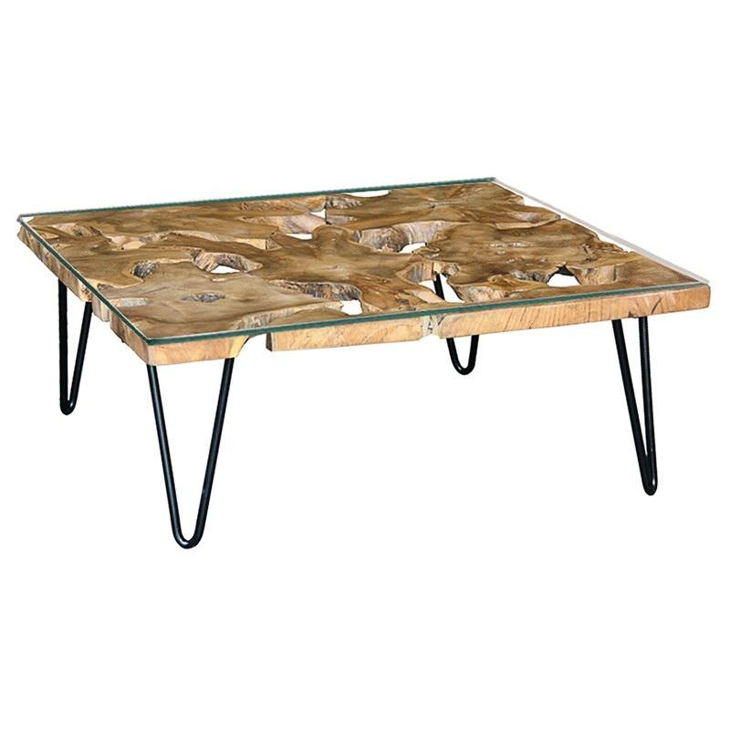 Darnell Rustic Timber and Metal 90cm Coffee Table with Tempered Glass Top