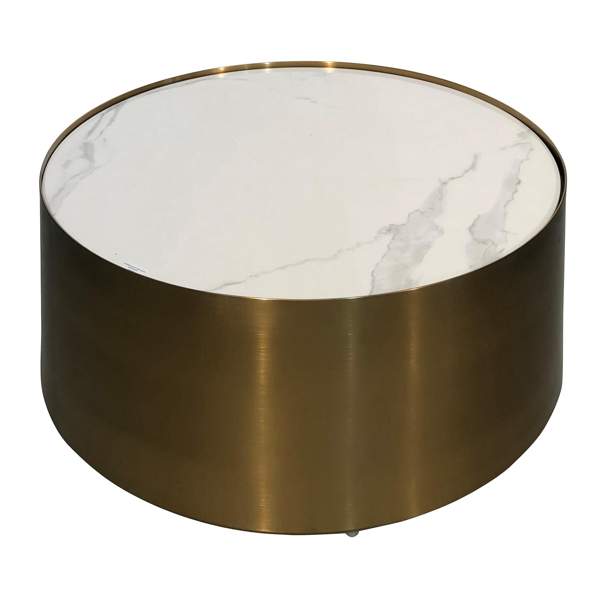 Sella Porcelian & Iron Round Coffee Table, 80cm, White / Brass