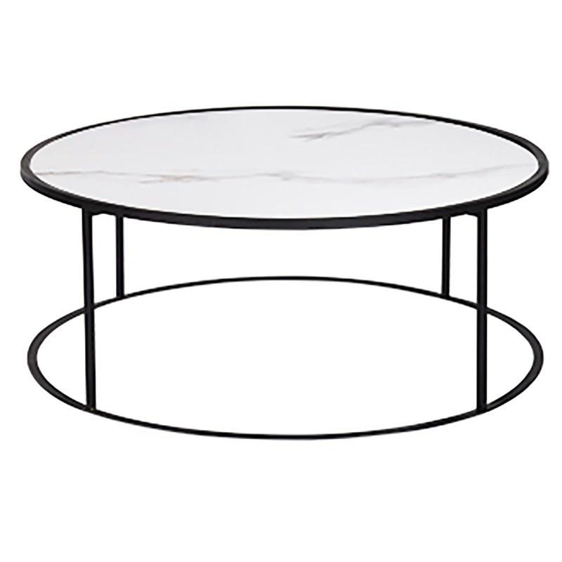 Casello Porcelian & Iron Round Coffee Table, 92cm, White / Black