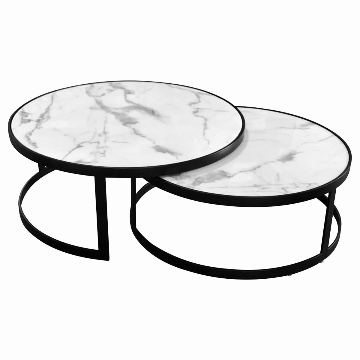 Mirabello 2 Piece Faux Marble Topped Metal Round Nesting Coffee Table Set, White / Black