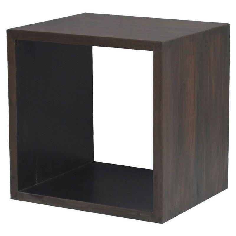 Cube Mahogany Timber Display Shelf, Single Compartment, Chocolate