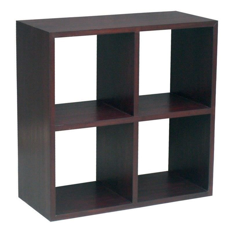 Cube Mahogany Timber Lowline Display Shelf, 4 Compartment, Chocolate