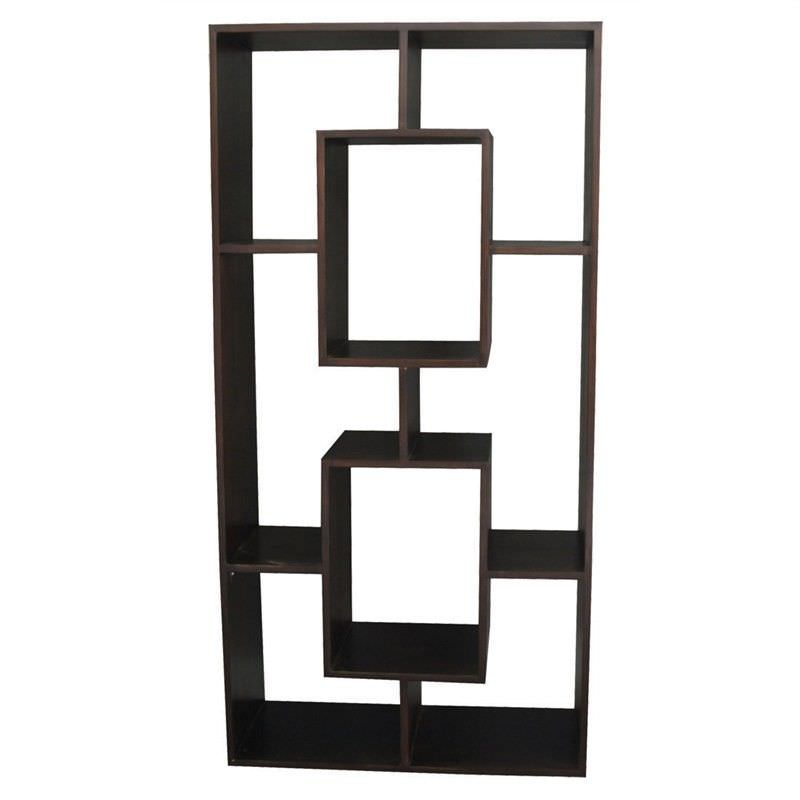 Eelis Solid Mahogany Timber Display Shelf / Room Divider, Chocolate