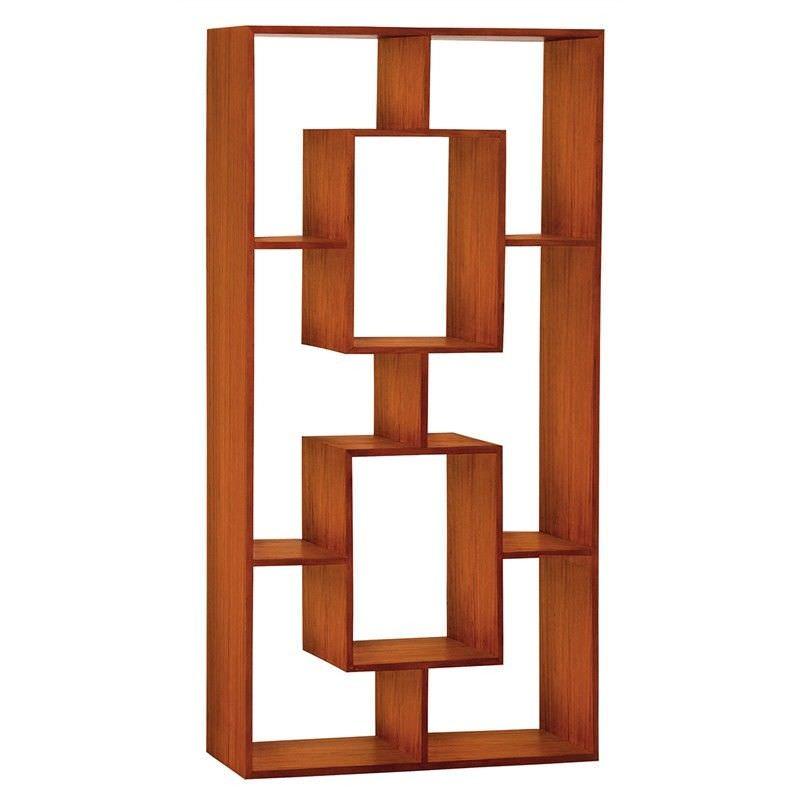 Eelis Solid Mahogany Timber Display Shelf / Room Divider,  Light Pecan