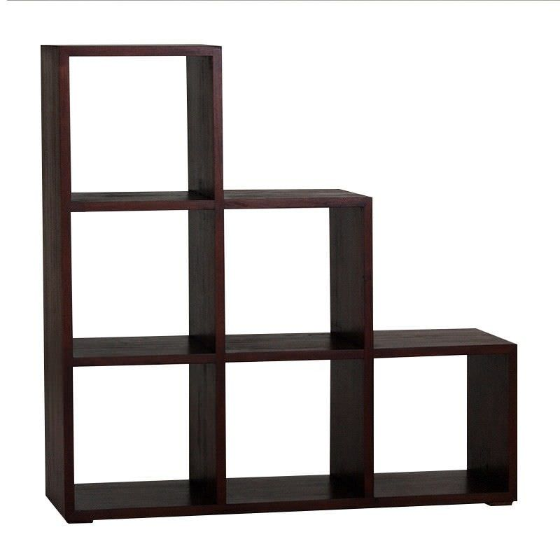 Cube Mahogany Timber Step Display Shelf, 6 Compartment, Mahogany