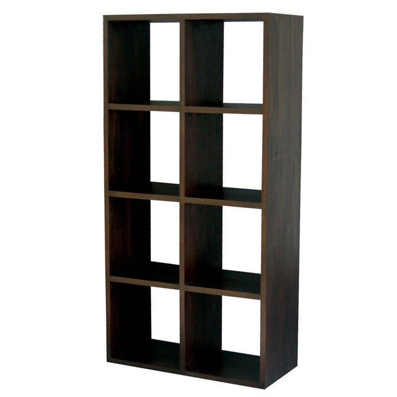 Cube Mahogany Timber Display Shelf, 8 Compartment, Chocolate