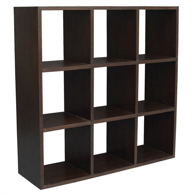 Cube Mahogany Timber Display Shelf, 9 Compartment, Chocolate