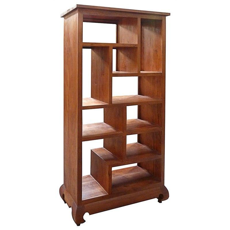 Liam Solid Mahogany Timber Display Shelf / Room Divider,  Light Pecan