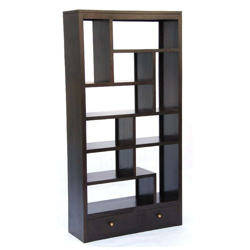 Pagama Solid Mahogany Timber Display Shelf / Room Divider with Drawers, Chocolate