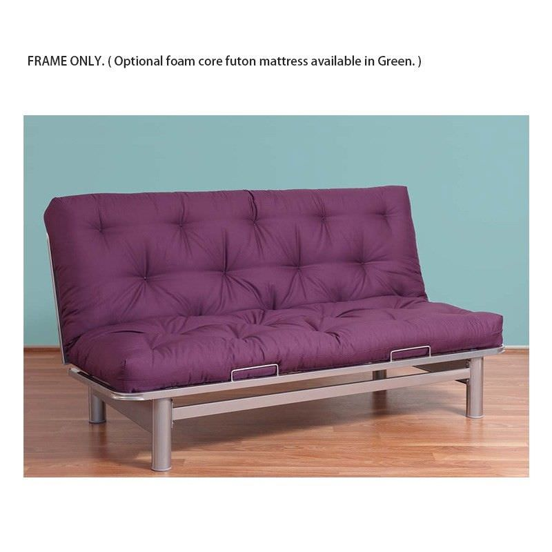 Cube Easy Action Futon Sofa Bed Frame, Silver (Mattress Sold Separately)