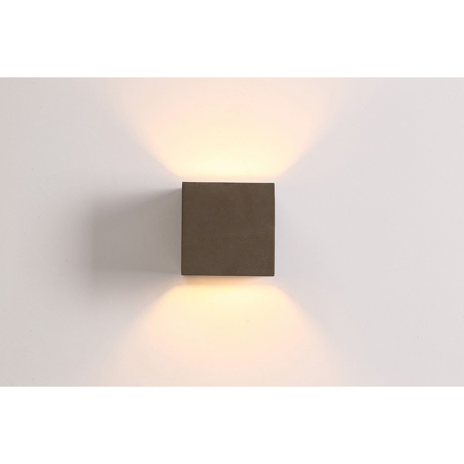 Cubo IP54 Exterior Up/Down LED Wall Light, Cement Grey