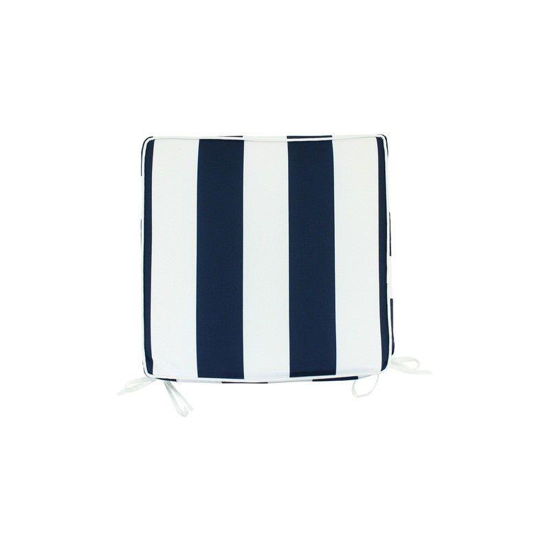 Minell Stripe Indoor / Outdoor Seat Pad, Navy