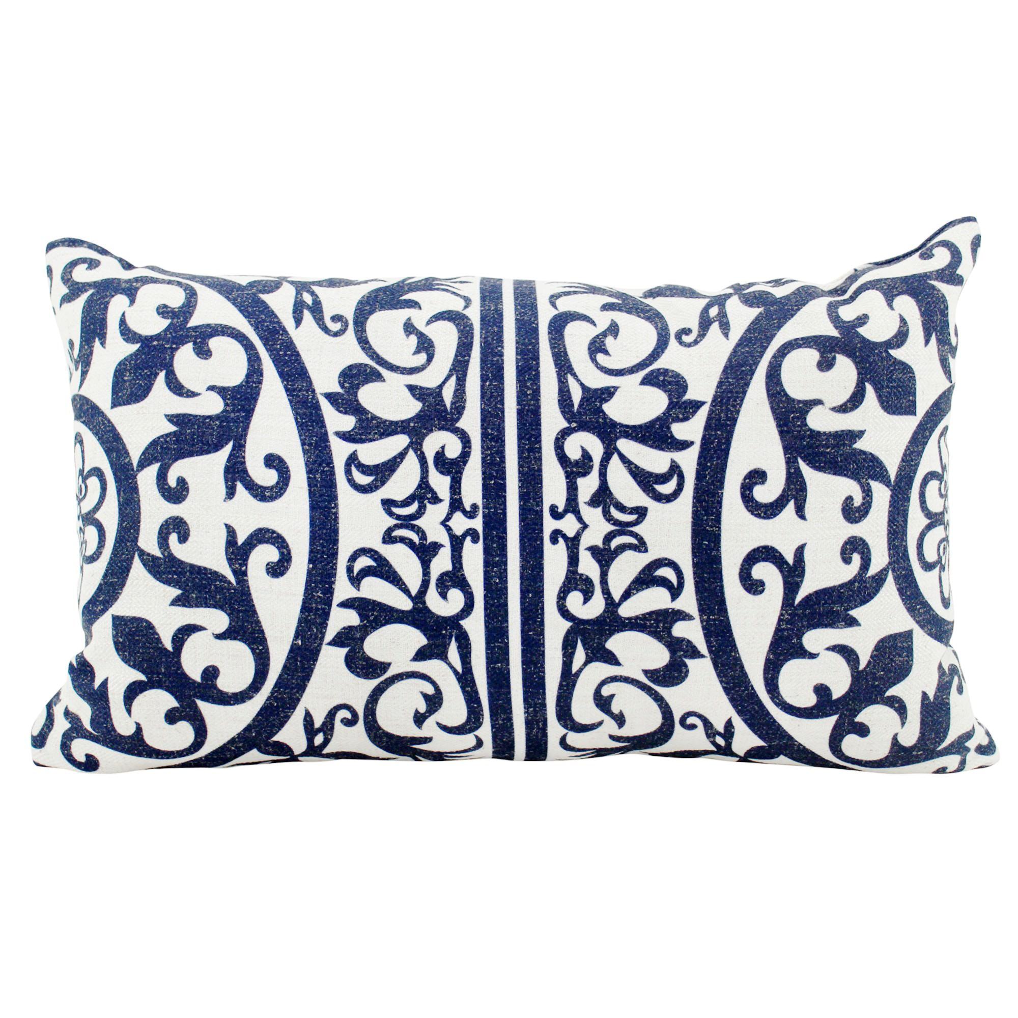Hamptons Linen Lumbar Cushion, Navy