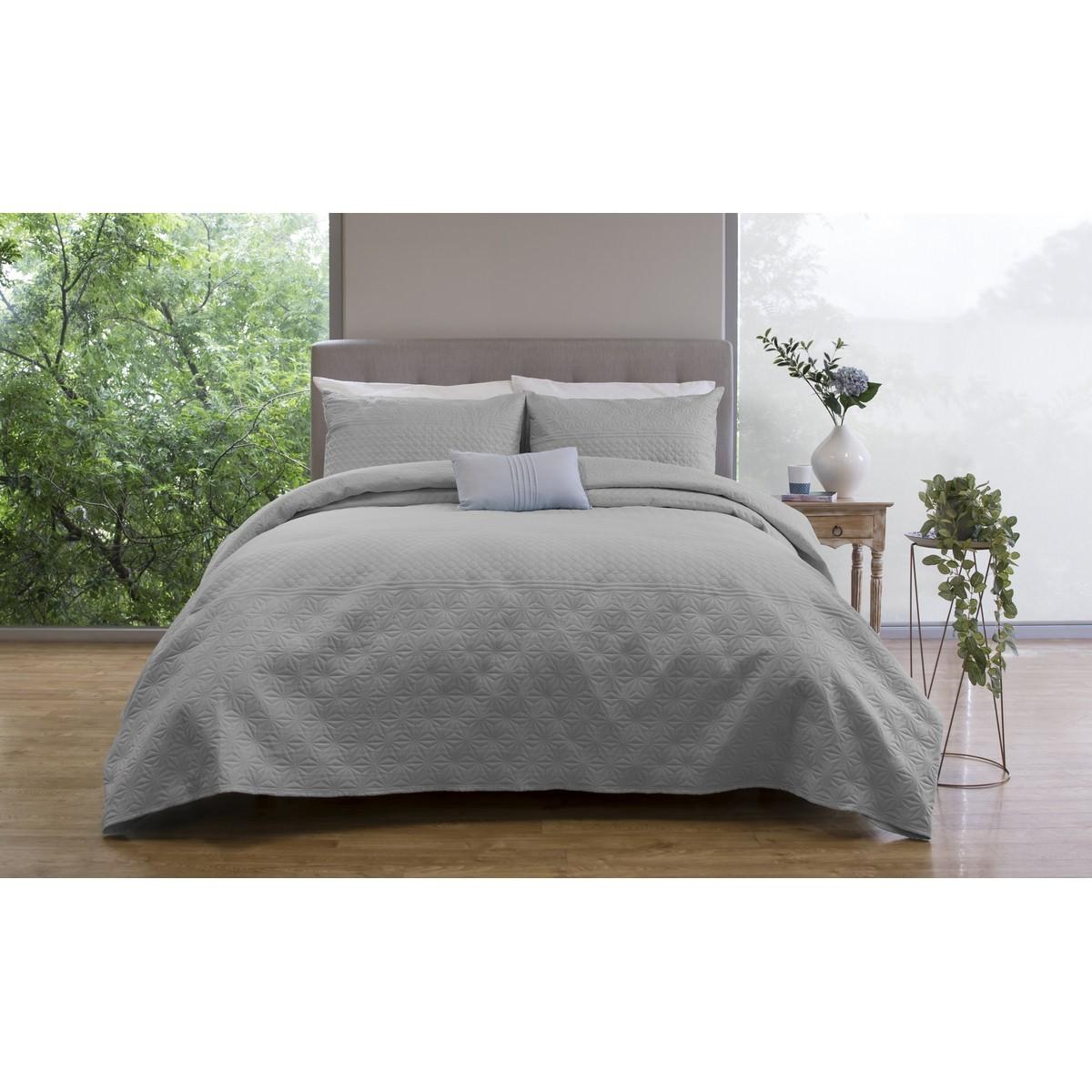 Ardor Boudoir Winslow Embossed Bed Coverlet Set, Queen / King, Grey
