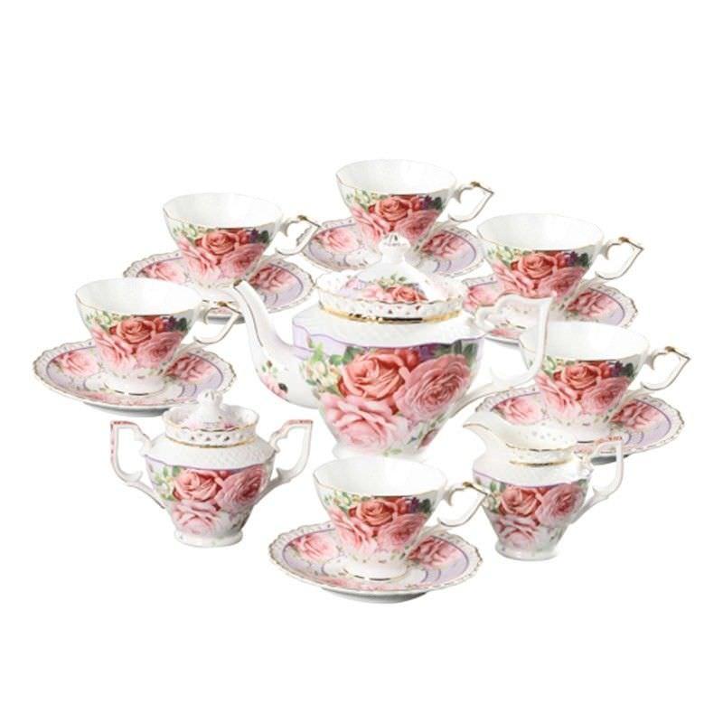 Pink Rose Tea Set (15 Pcs)