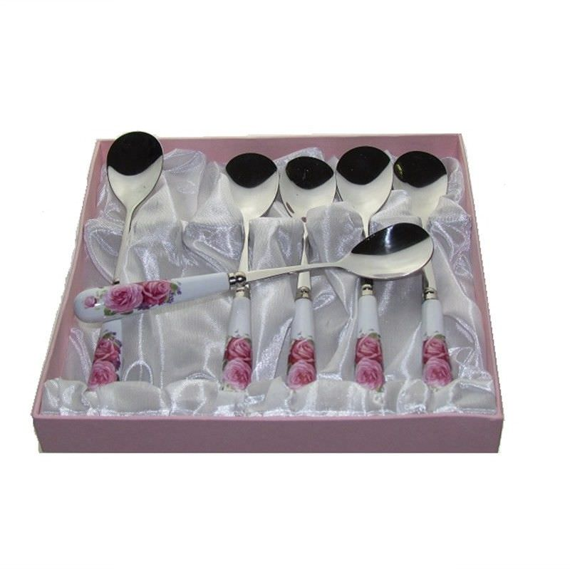 Pink Rose Spoons (Set Of 6)