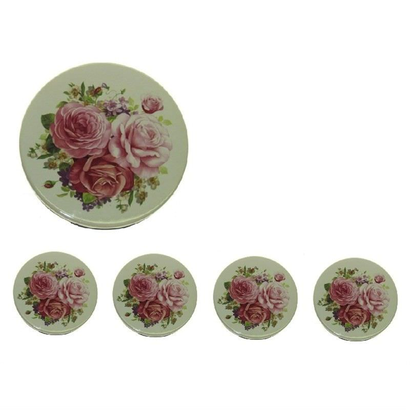 Pink Rose Coasters (Set Of 4)