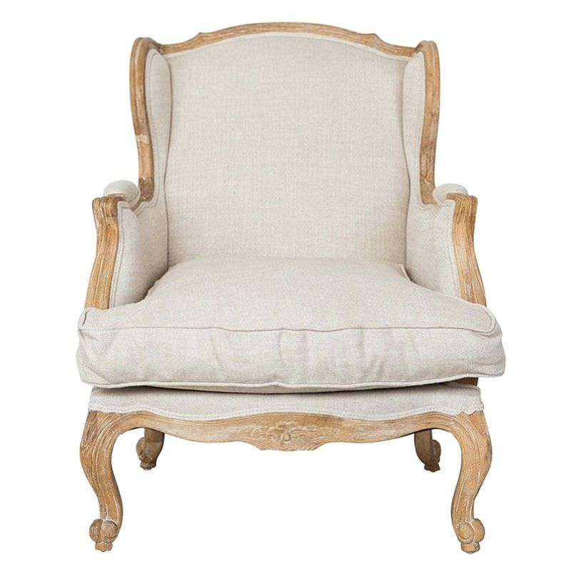 Louis XV Bergere Plain Linen Upholstered American Oak Timber Wingback Armchair