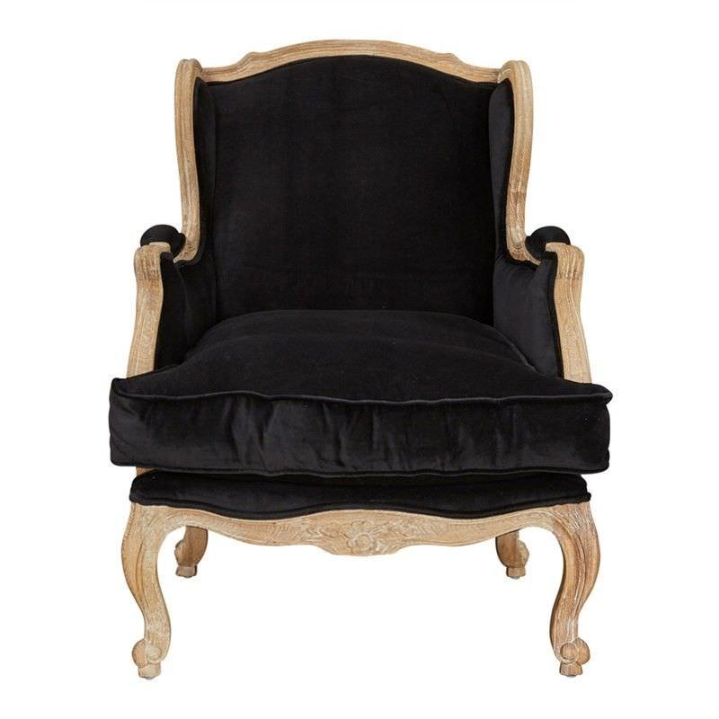 Louis XV Bergere Velvet Fabric Upholstered American Oak Timber Wingback Armchair