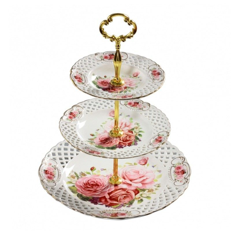 Pink Rose 3 Tier Cake Stand