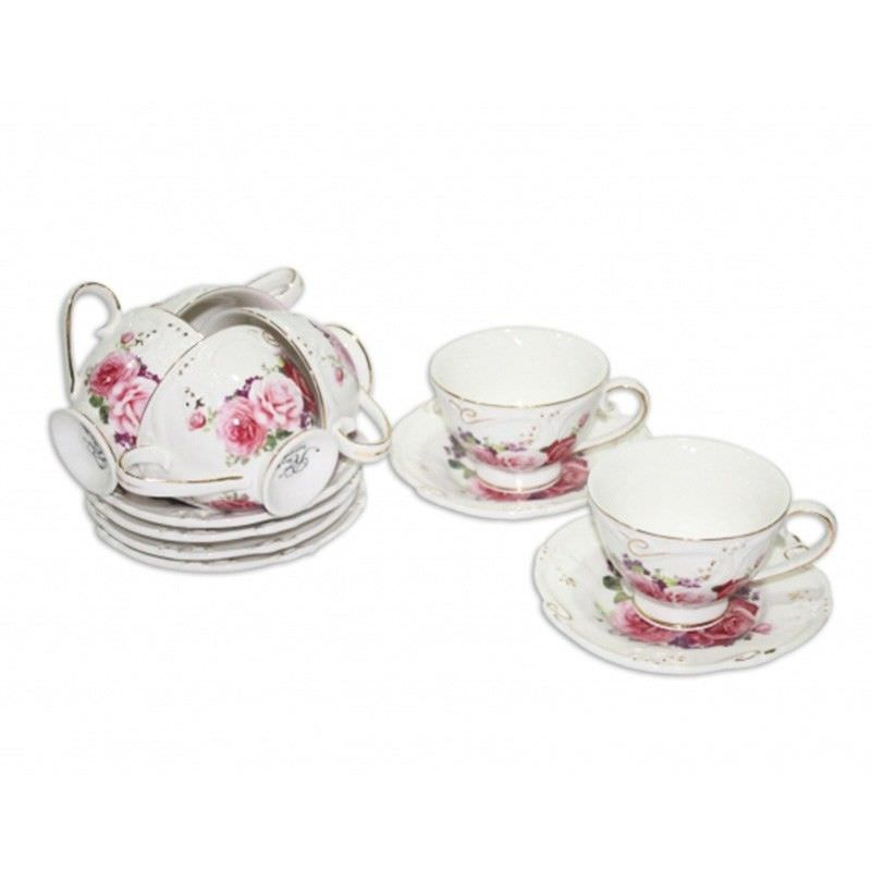 Pink Rose 6 Cups And Saucers Coffee Set