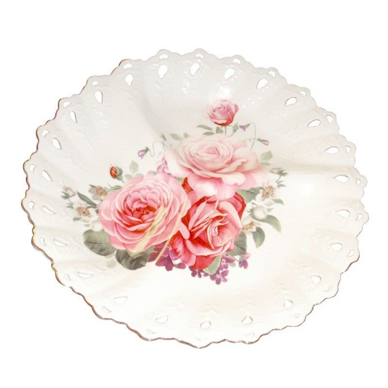 Pink Rose Tray With 3 Dividers