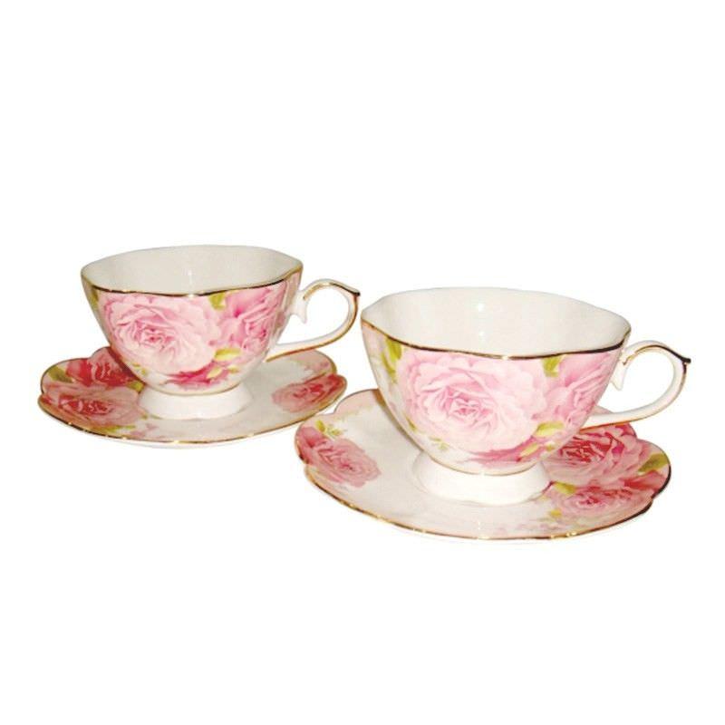 Pink Rose 2 Cup and 2 Saucer Set