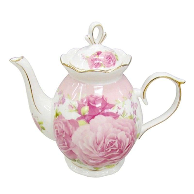 Pink Rose Teapot Height 15Cm