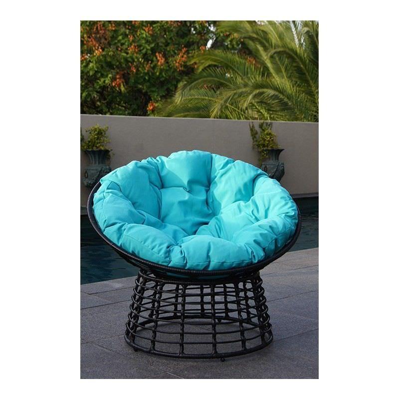 Coco Rattan Chair with Cushion - Aqua