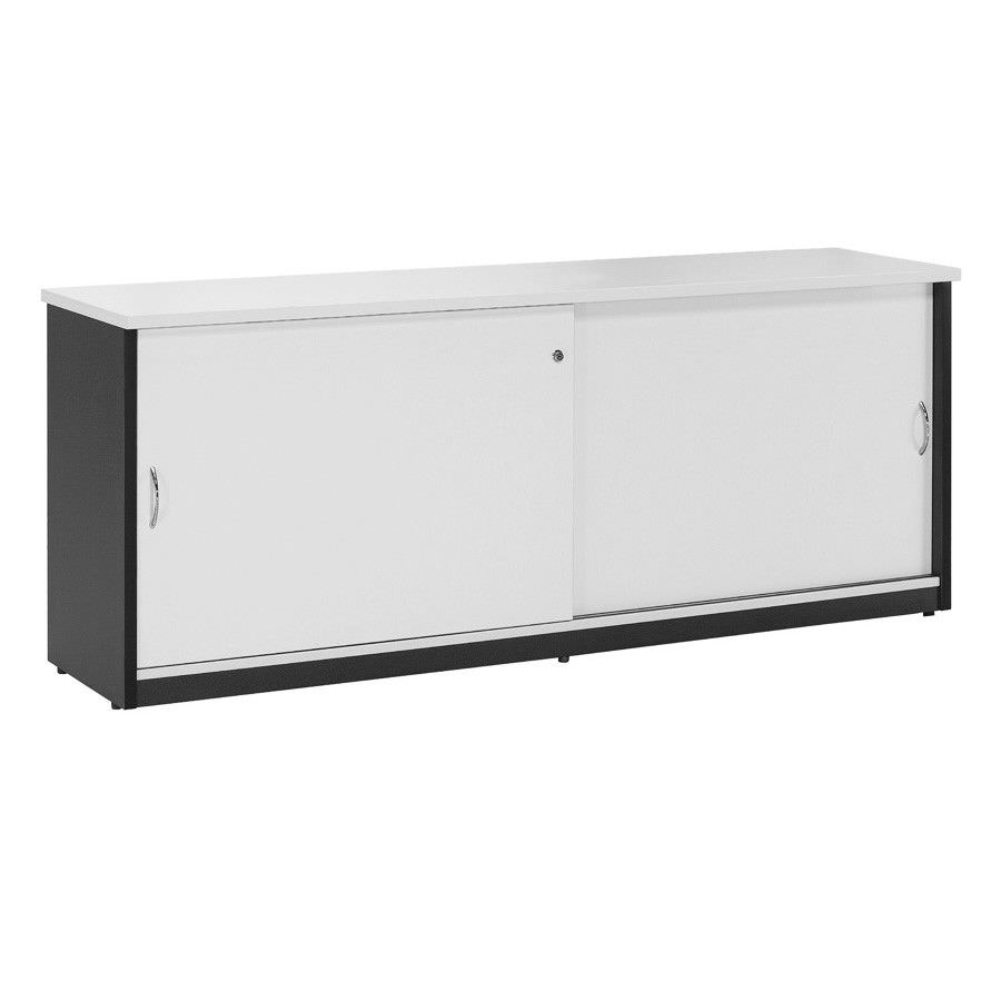 Logan Credenza Cabinet with Locker, 180cm, White / Black