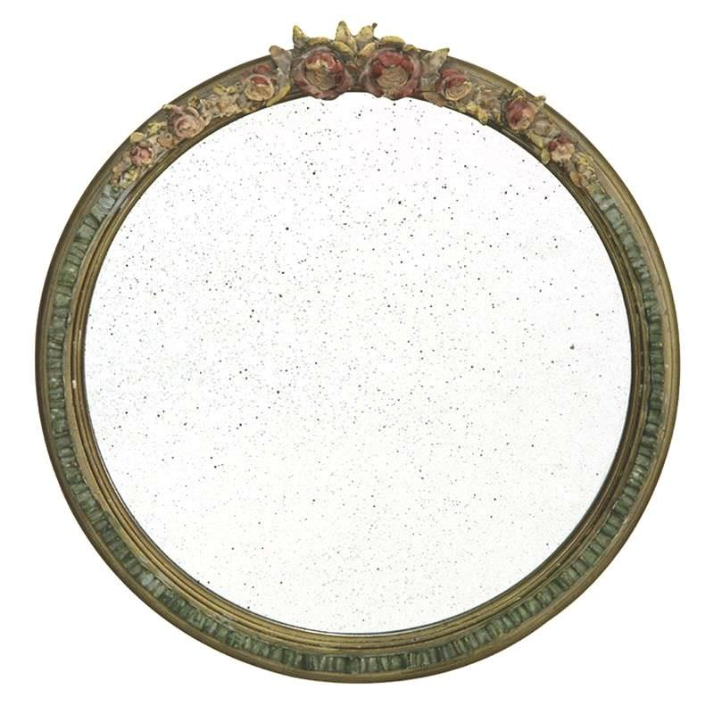 Fleur Antique Spotted Glass 44cm Round Wall Mirror
