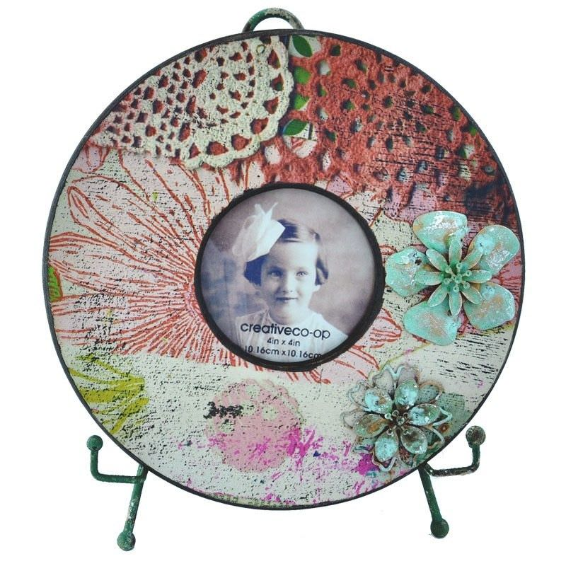 Tisserand Wooden Round Photo Frame with Easel