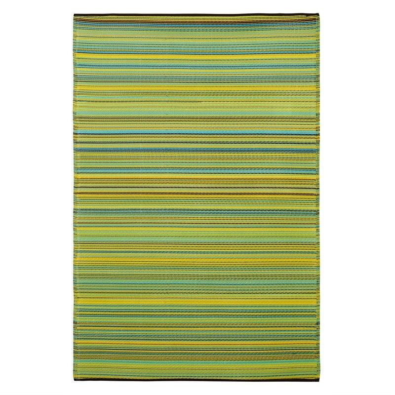 Cancun Outdoor Rug in Lemon and Apple Green - 150x238cm