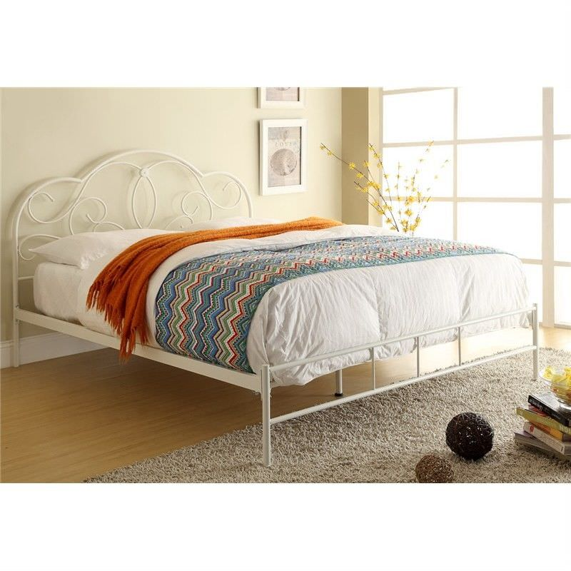 Charlotte Metal Queen Bed - Antique Ivory