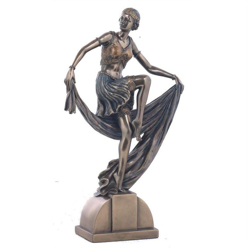 Cast Bronze Dancer Figurine, Dancing with Shawl II