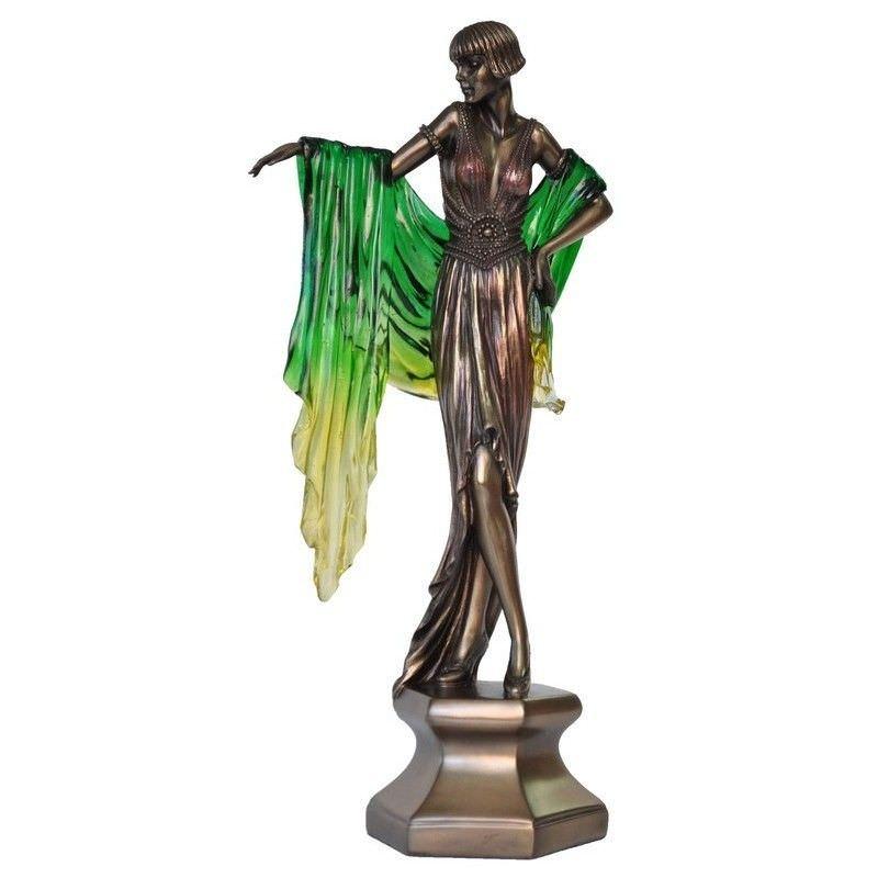Cast Bronze Dancer Figurine, Dancing with Green Shawl