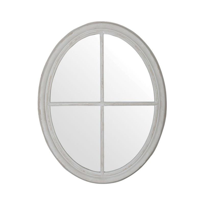 Stein Wooden Frame Oval Window Wall Mirror, 94cm
