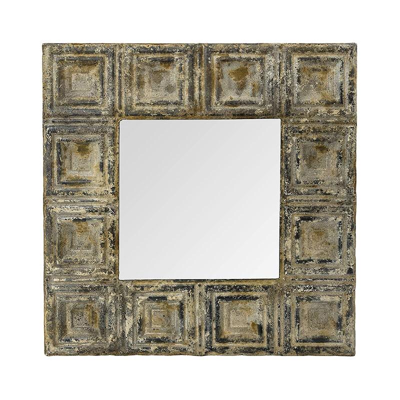 Amiee Pressed Tin Frame Square Wall Mirror, 60cm