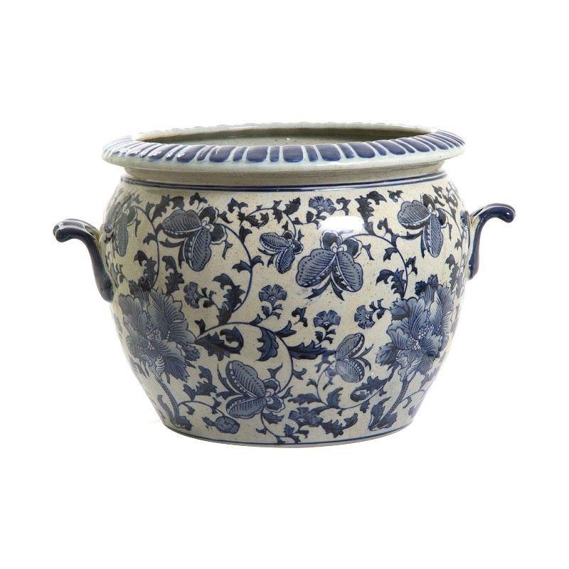 Imperial Oriental Blue & White Ceramic Flower Pot