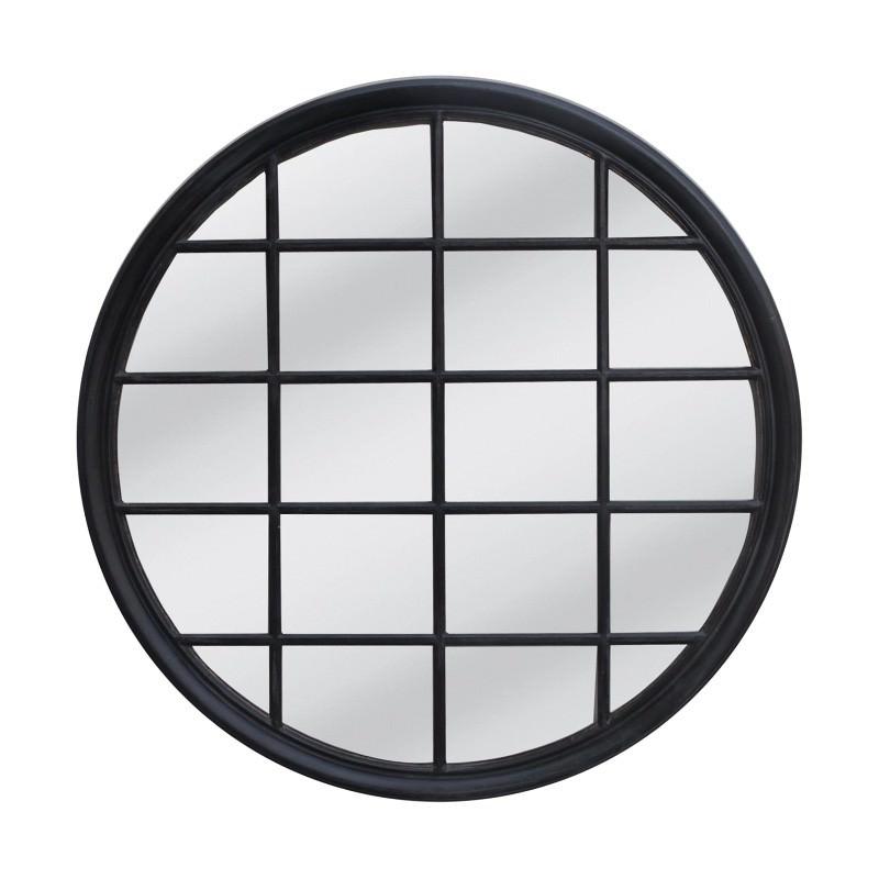 Mathews Wooden Frame Round Window Wall Mirror, 120cm, Black