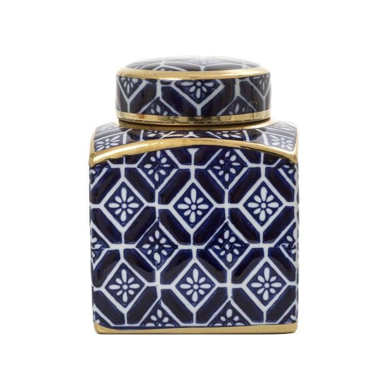 Royal Vilia Blue & White Ceramic Square Temple Jar
