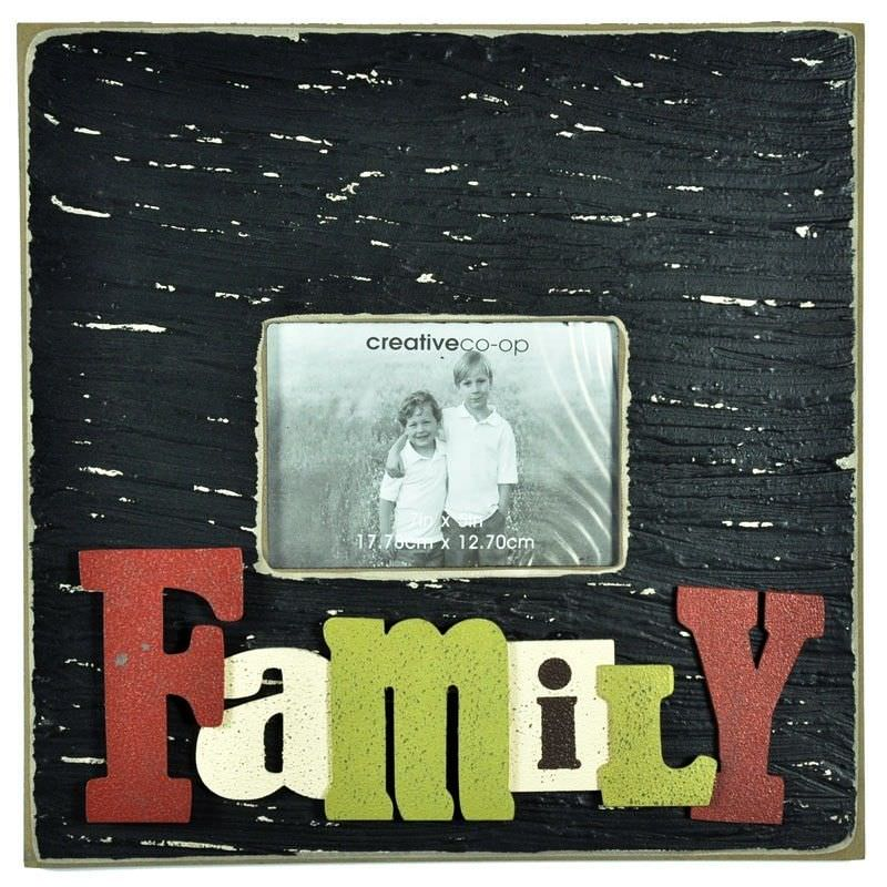 Large Square Wooden Photo Frame with 3D Raised Letters - Family